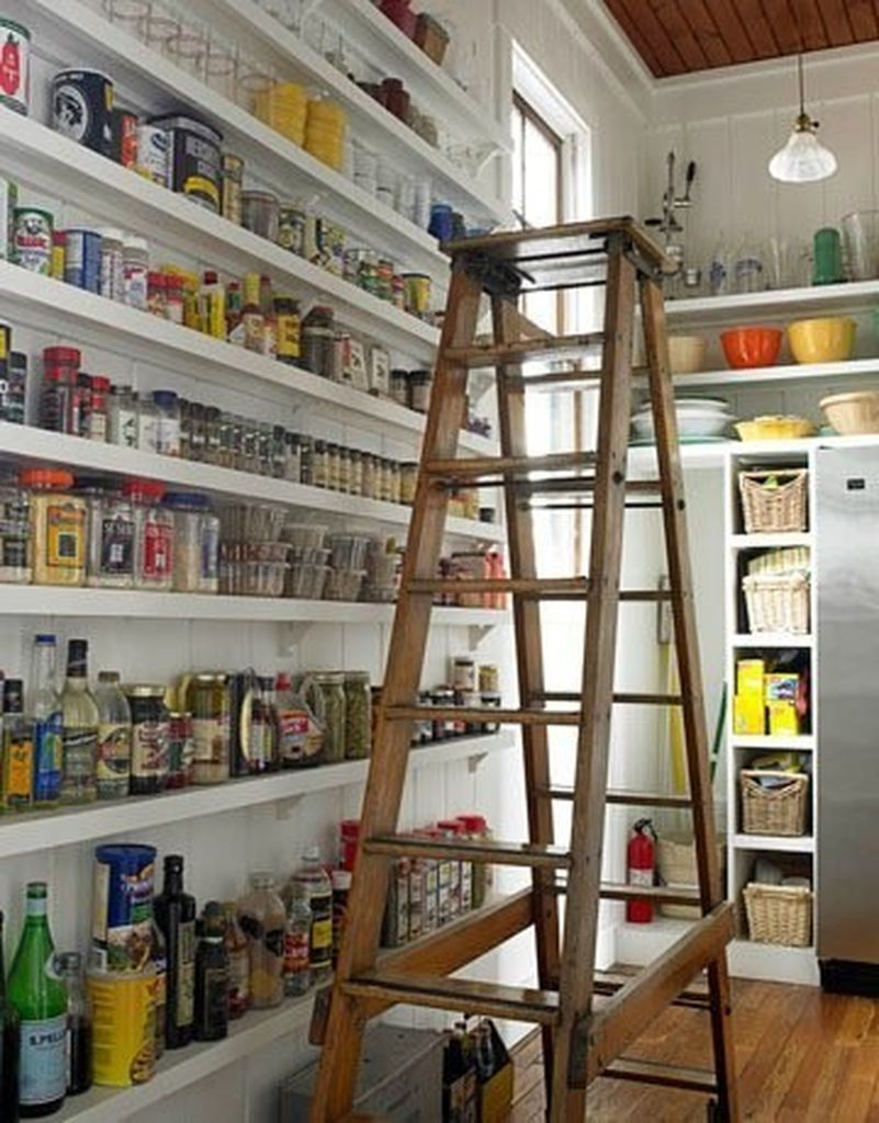 Vintage ladder for a modern pantry