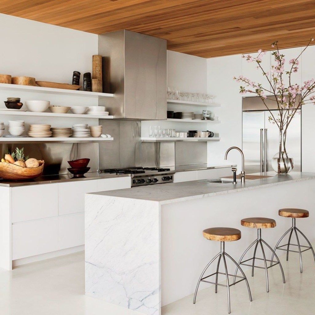 White kitchen with shelves to organize your kitchen