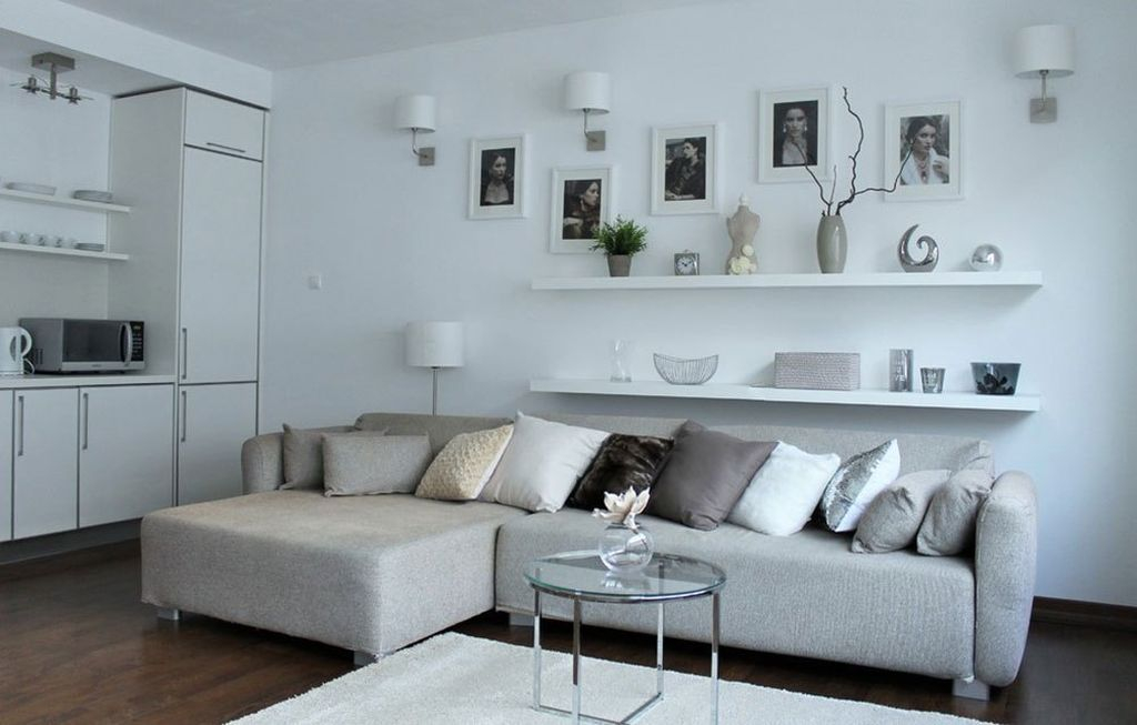 White walls for living room with shelf