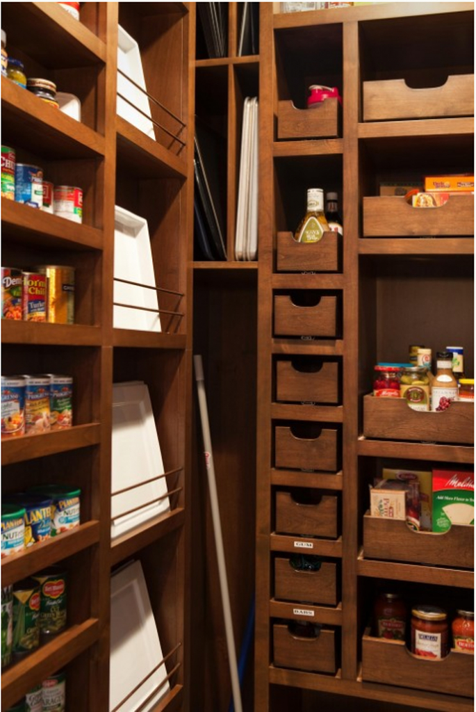 Wooden kitchen pantry design with rack