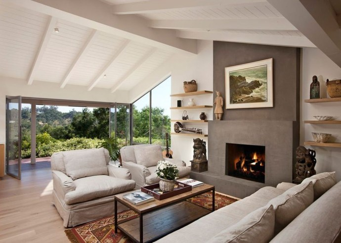 Wooden shelf beside fireplace to perfect your living room
