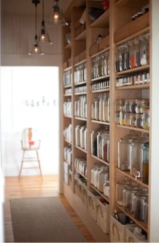 Wooden shelves rack with glass jar
