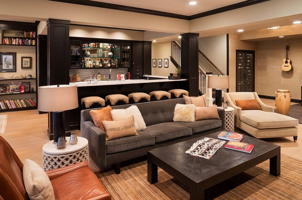 Basement bar and living decoration