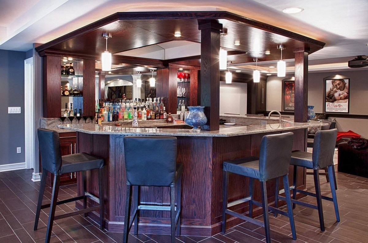 Basement bar design with smart lighting decoration