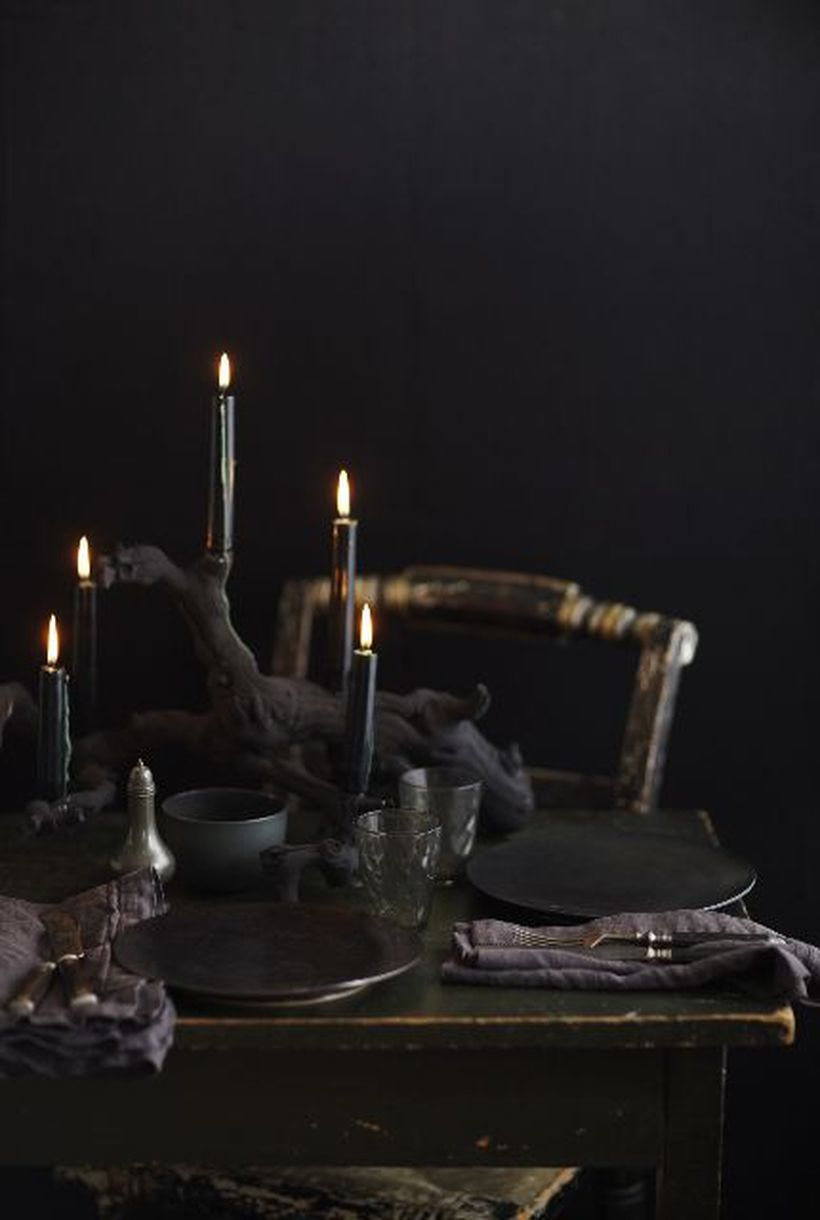 Halloween black wood and black candle centerpiece
