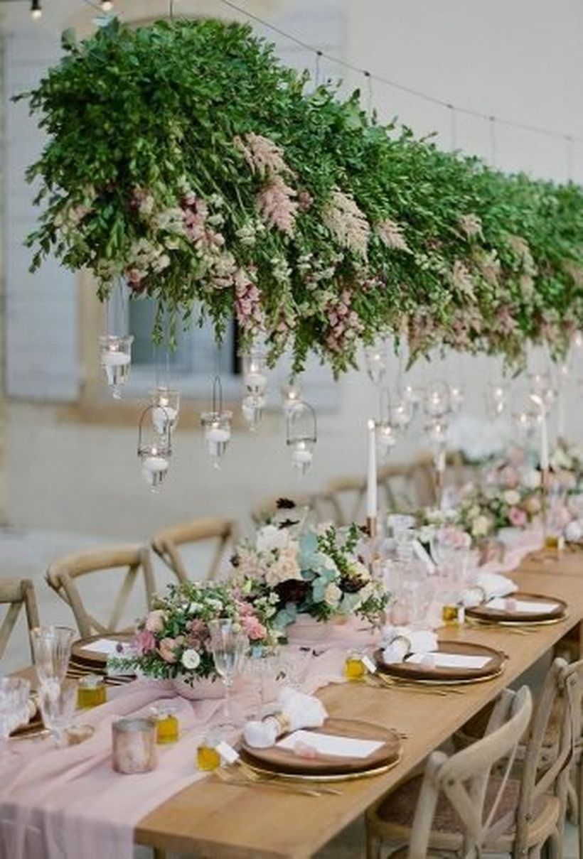 Hanging green plants and hanging candle light decoration