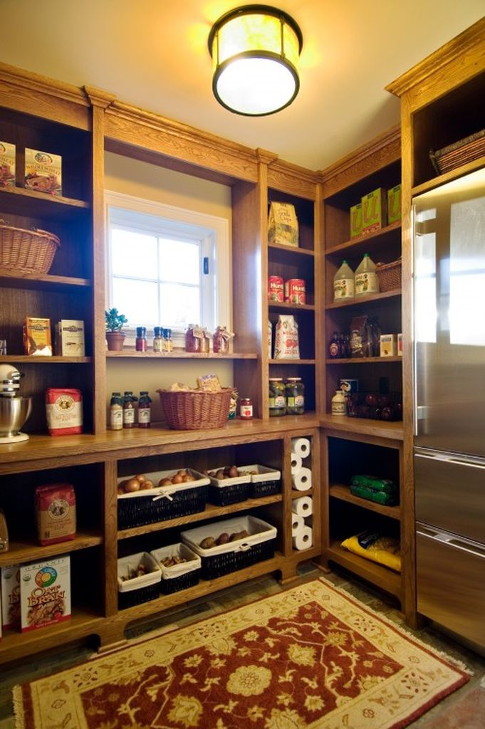 Kitchen pantry design with wooden shelves