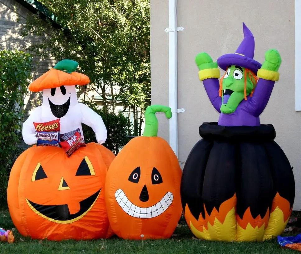 Outdoor halloween witch large pumpkin