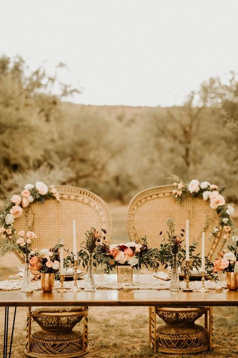Romantic bohemian wedding table decoration ideas