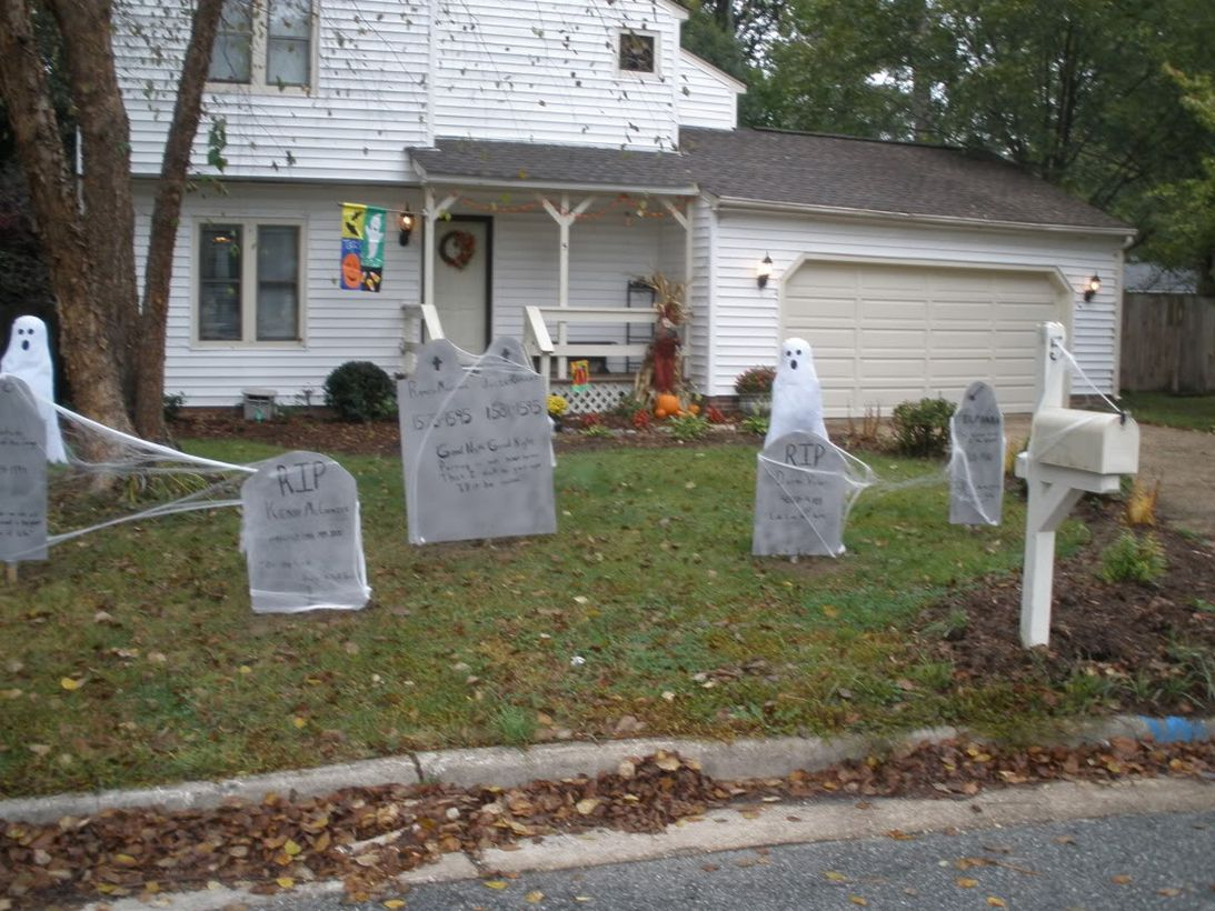 Scary outdoor halloween with a theme in the cemetery