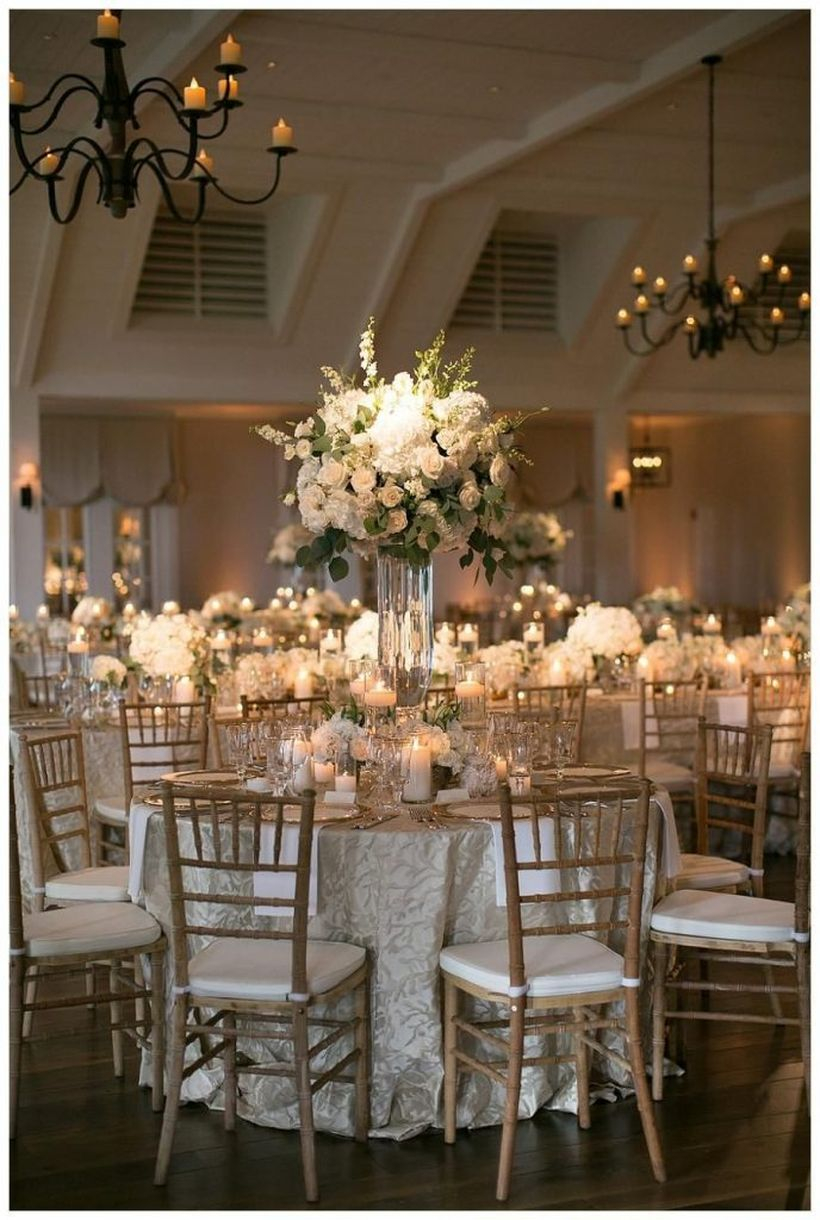 White flowers and hanging candle decoration
