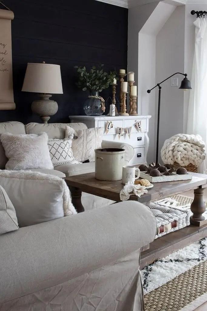 Black and white framhouse living room