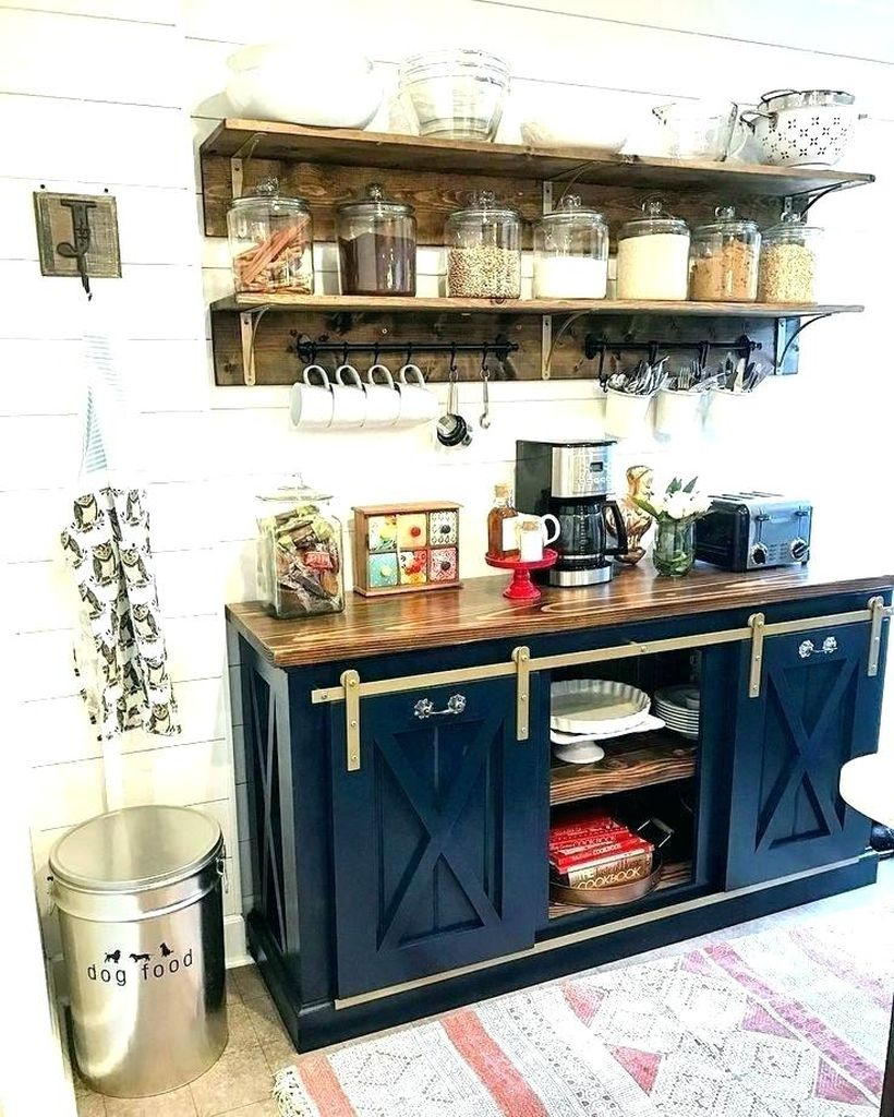 Blue wooden coffee bar with simple storage and old wooden shelves that look good for your home