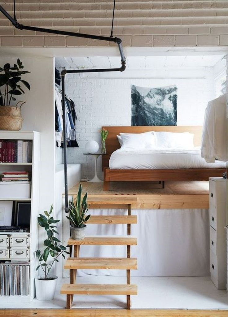 Brick walls in white to perfect your loft bedroom