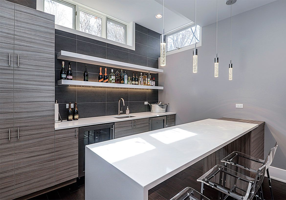 Gray coffee bar combined with cabinet, white island table and modern iron furniture