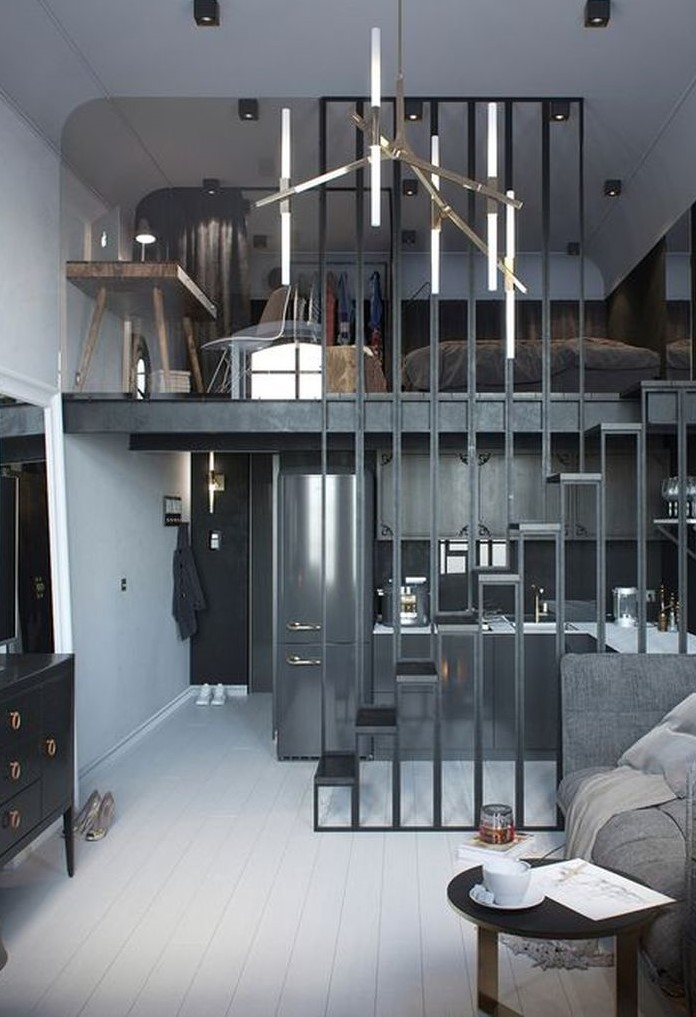 Grey loft bedroom design
