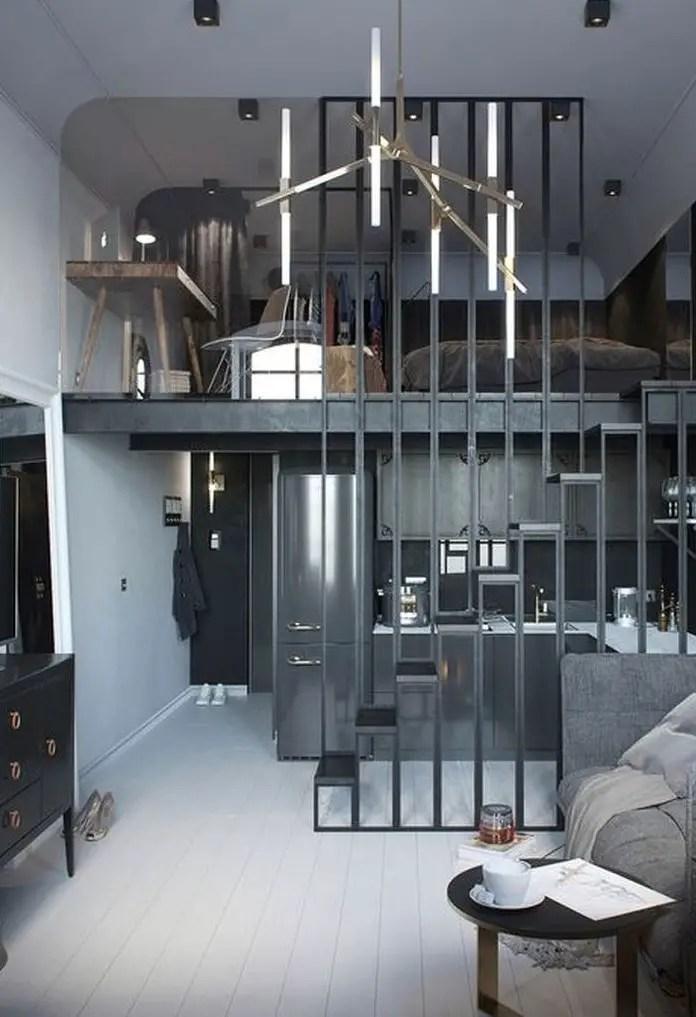 Grey loft bedroom design
