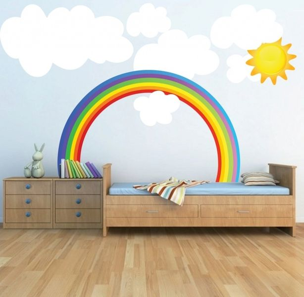 Rainbows-and-white-clouds-for-kids-room.