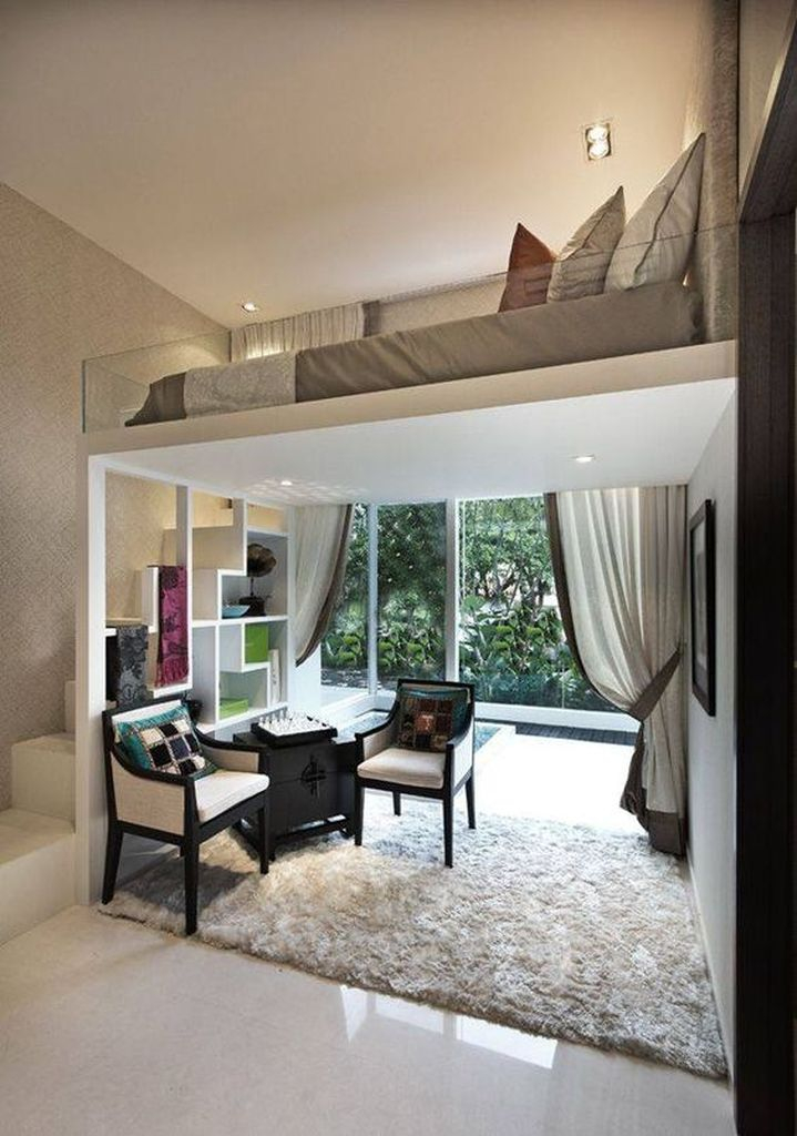 White ceiling to complete your loft bedroom