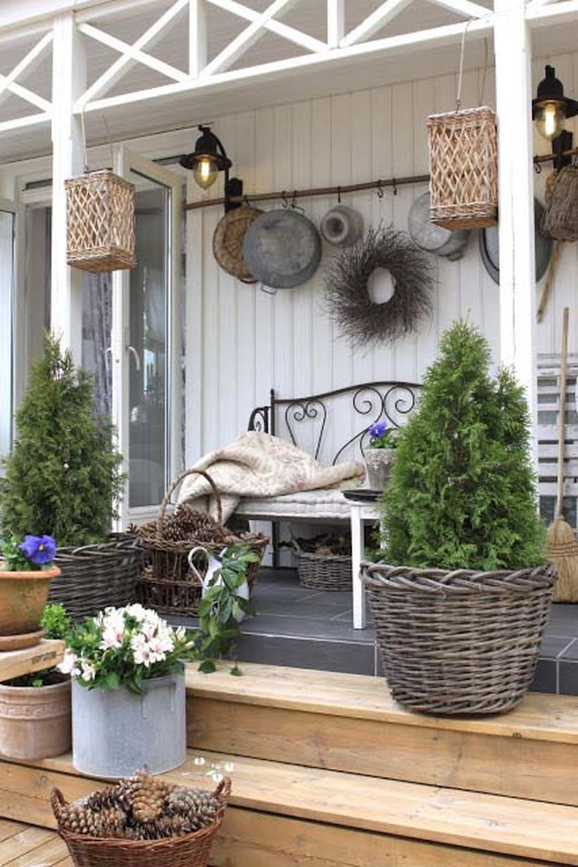 Woodsy setup on a porch