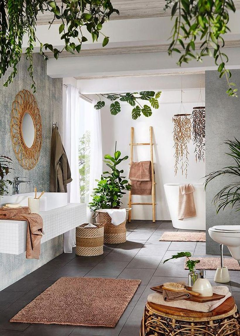 Contemporary-meets-boho-space-with-unik-rattan-table-to-store-toiletries-and-rattan-basket-to-store-dirty-clothes