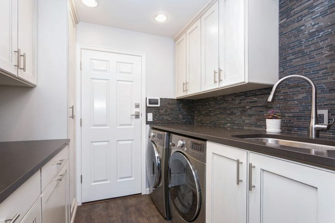 Laundry room with white cabinet ideas