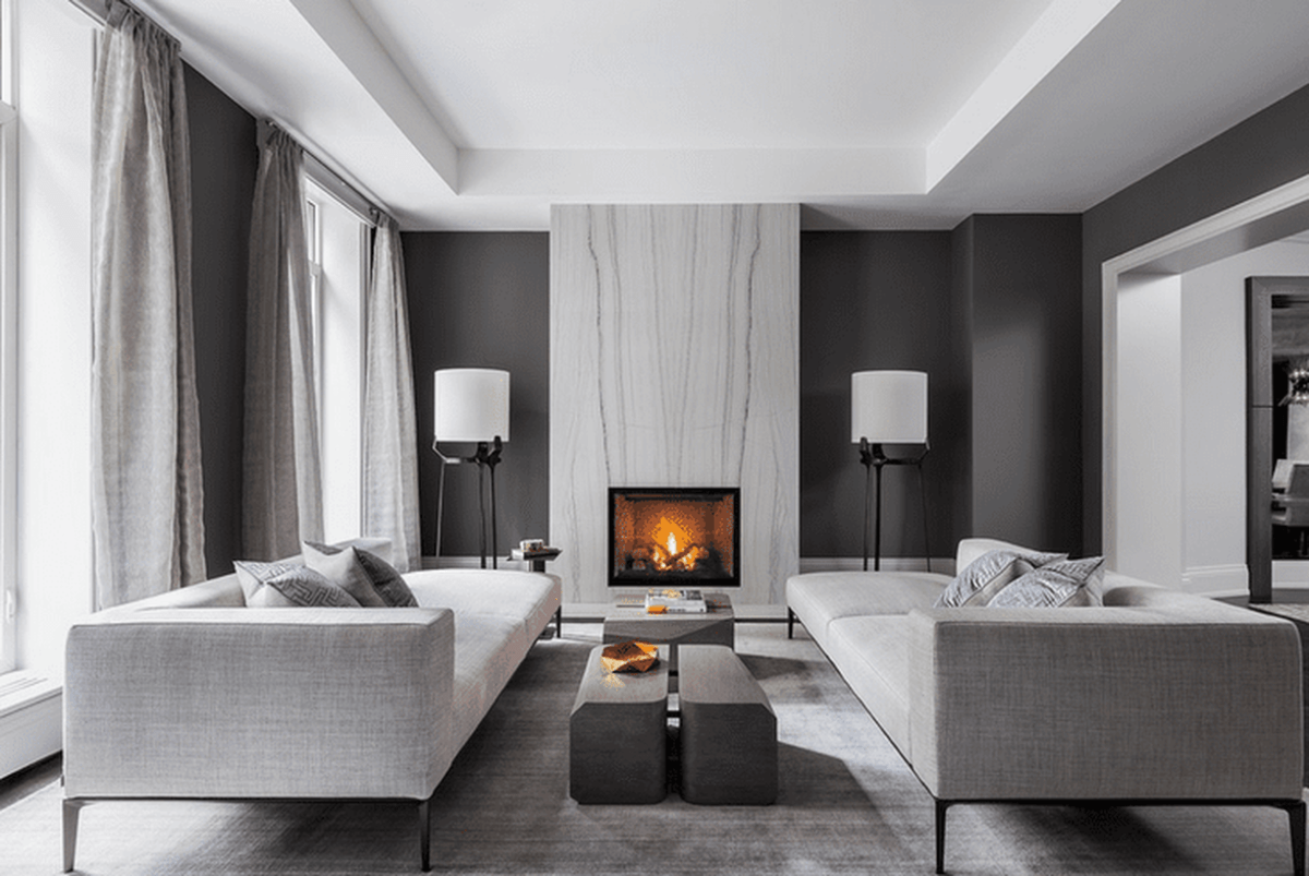 Monochrome-living-room-design-with-light-gray-sofa-large-unique-coffee-table-and-firepit-in-your-home-to-warm-this-season