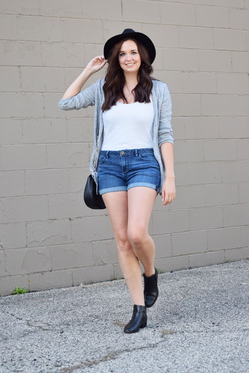 6grey-cardigan-lace-cami-denim-shorts-black-booties-fedora