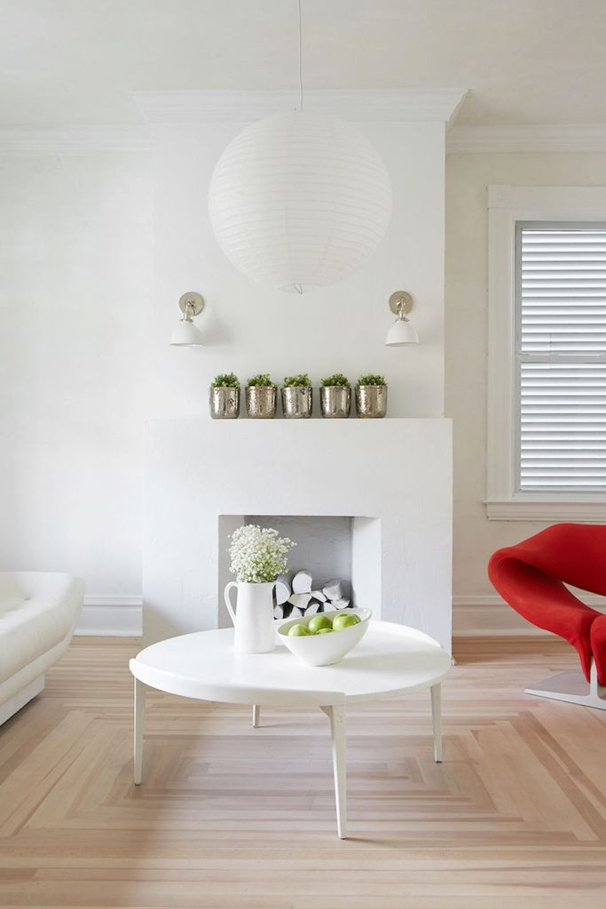 All-white aesthetic fireplace