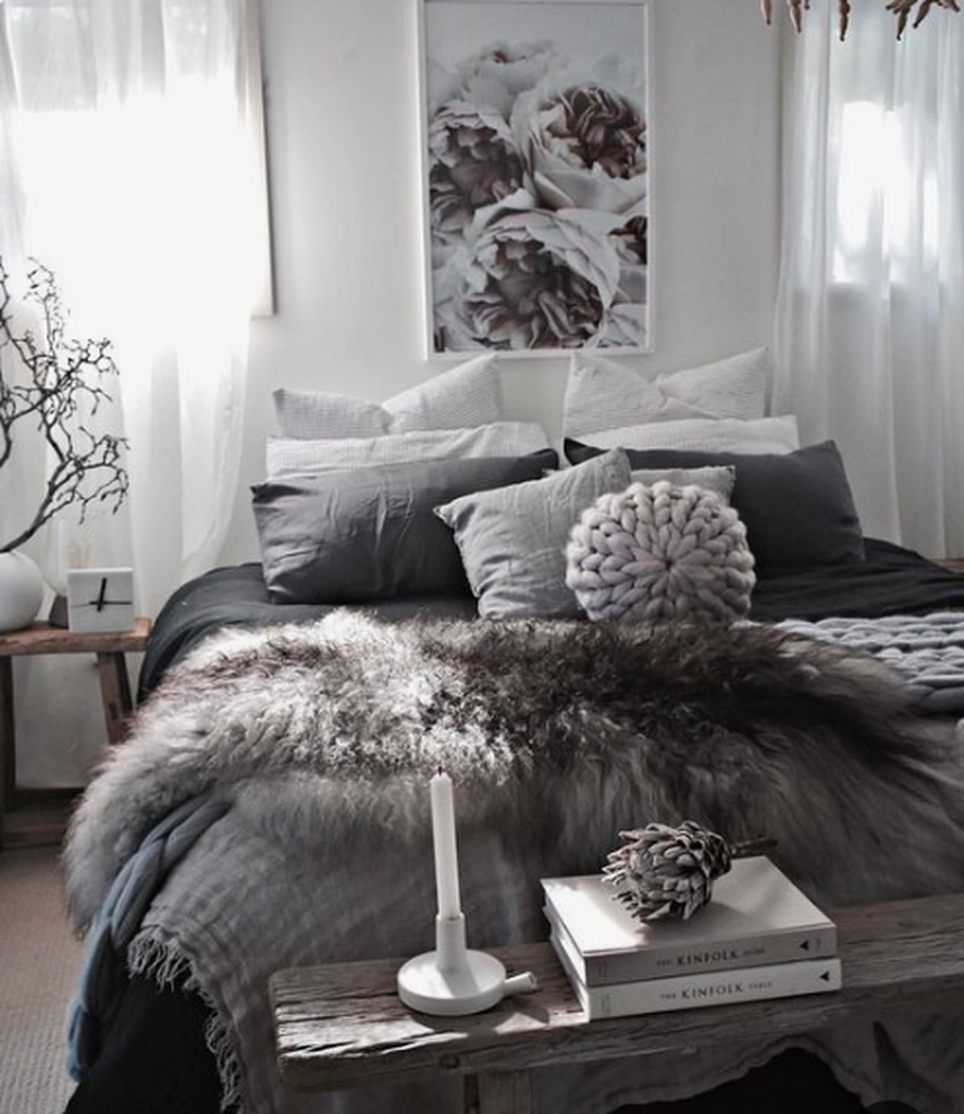 Black and white bedroom for winter
