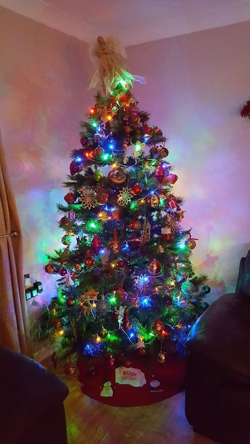 Chrismast tree combine with colorful ornament decoration