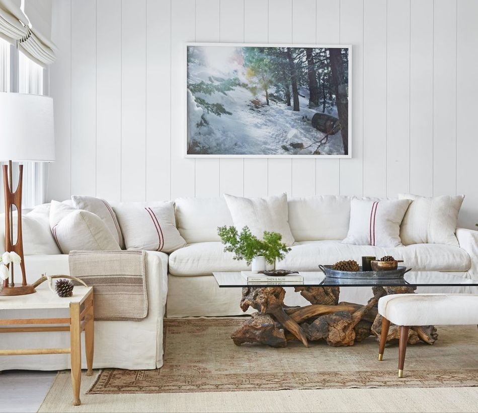 Red line motif in white cushion with white sofa