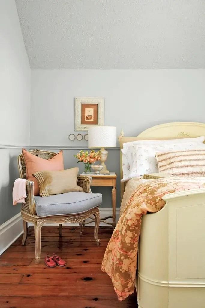 Rustic bedroom with pastel walls color