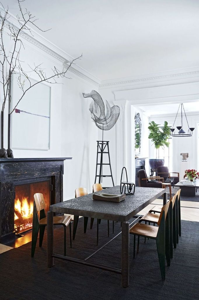 Rustic dining room design with fireplace