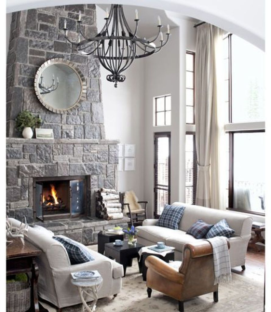 Rustic fireplace combined with white walls