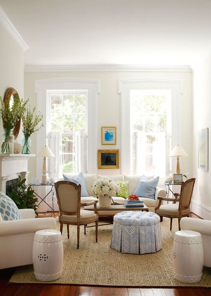 White living room decoration with wooden floor
