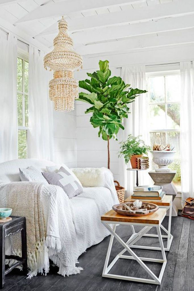 White wooden walls combined with greenery