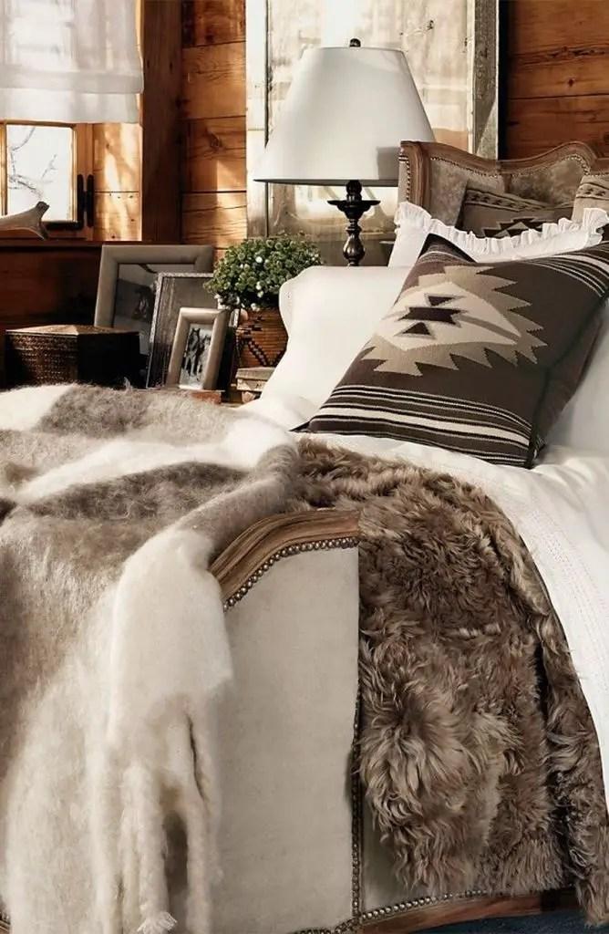 Wooden walls bedroom for winter