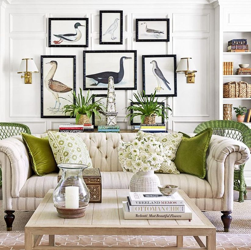 Green and white pattern cushion with stripped sofa and wooden table