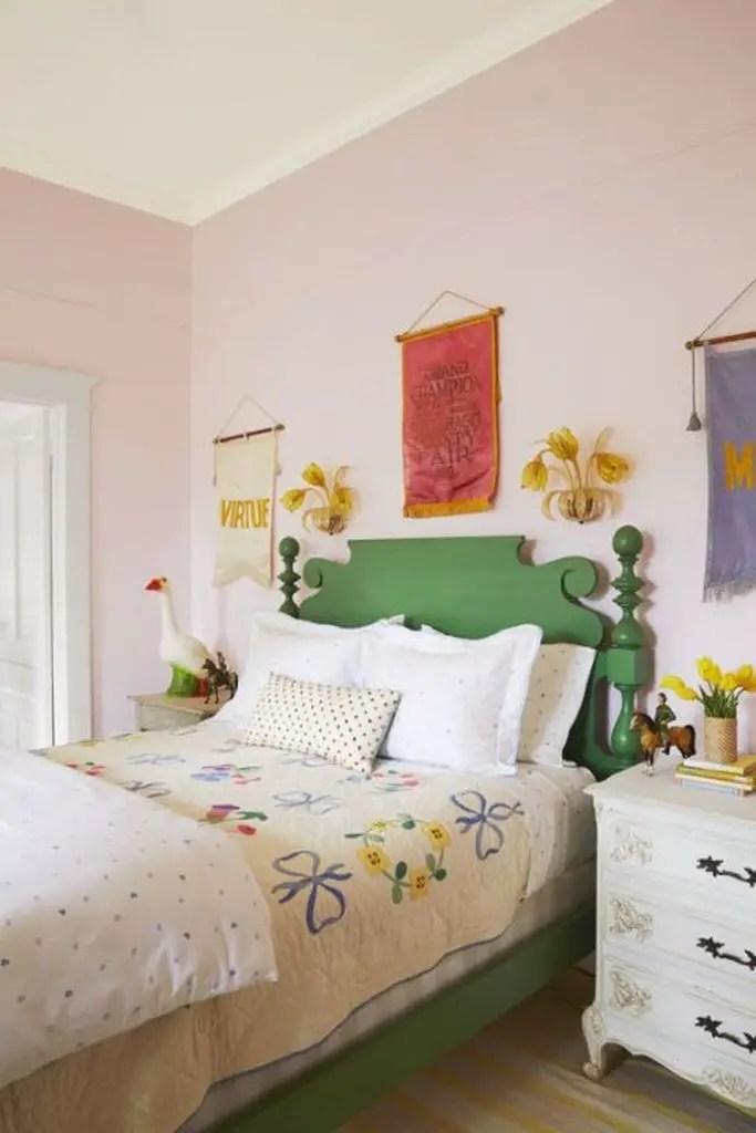 Rustic green bed for girls bedroom