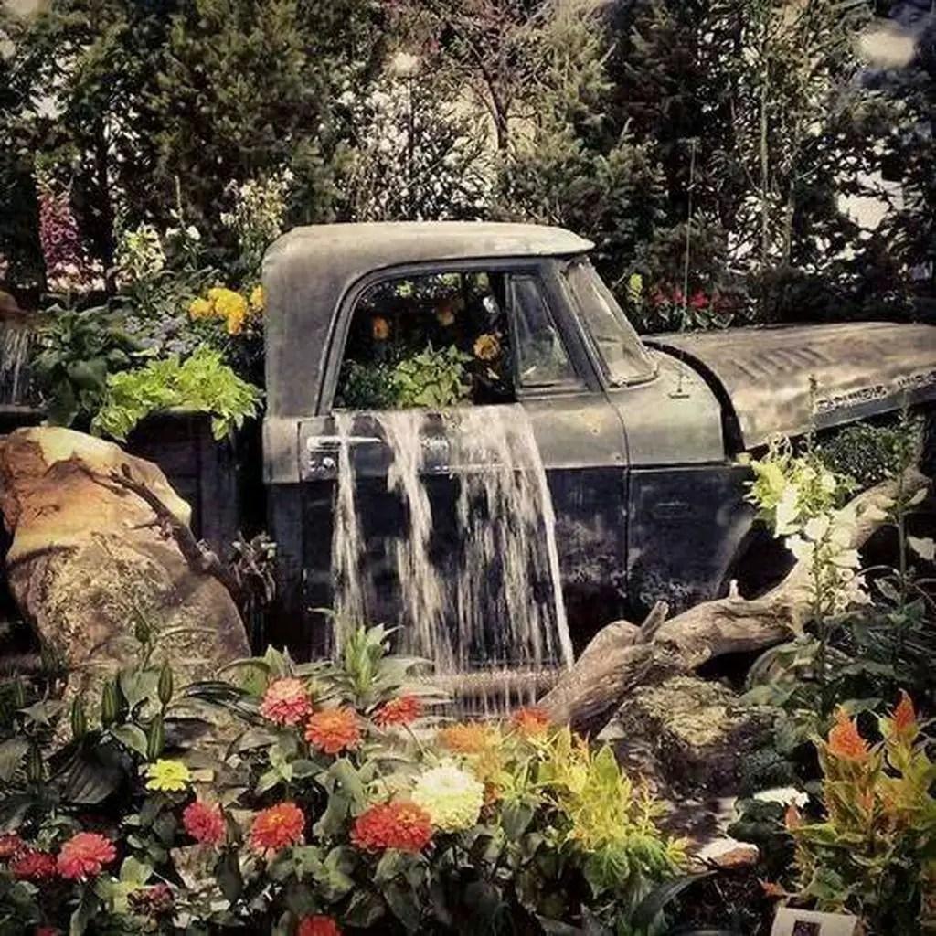 Waterfall-vintage-truck-garden