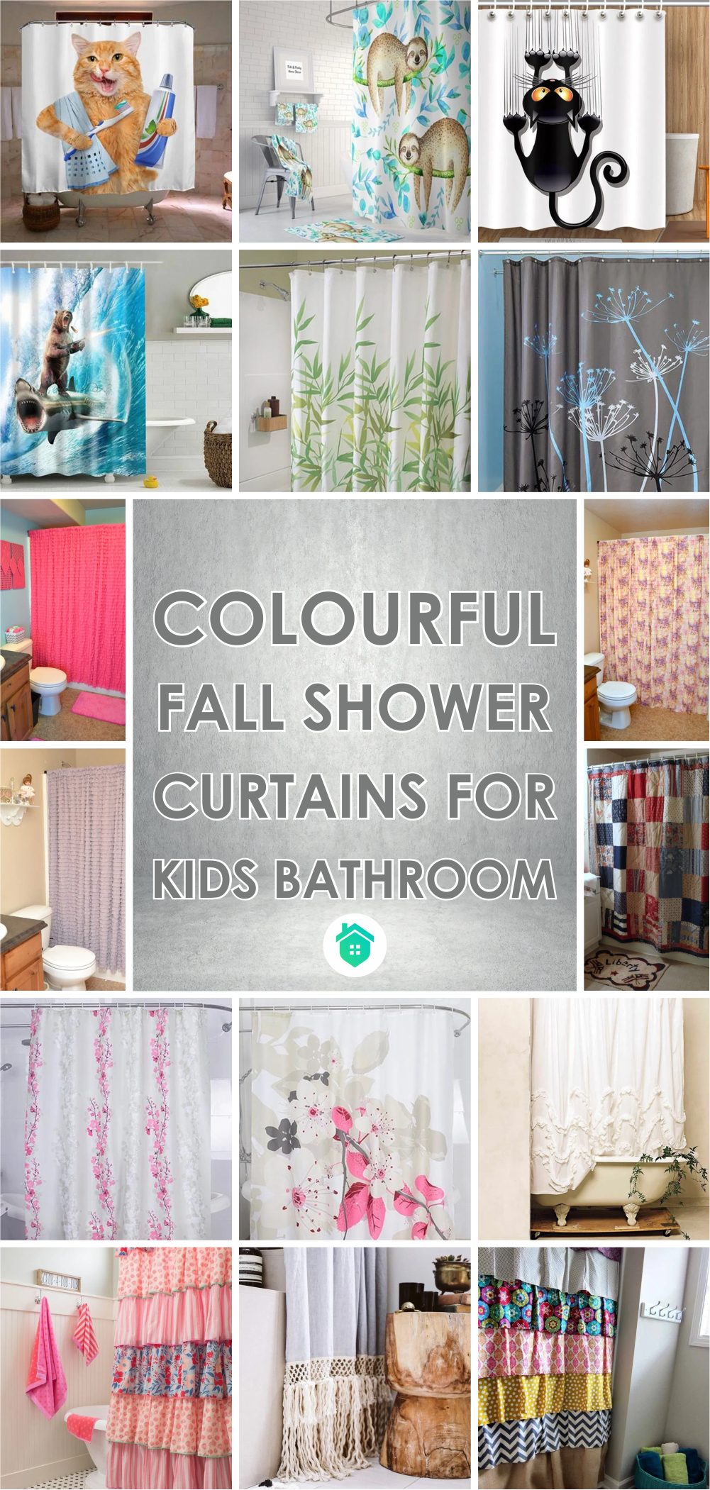 Colourful fall shower curtains for kids bathroom 1