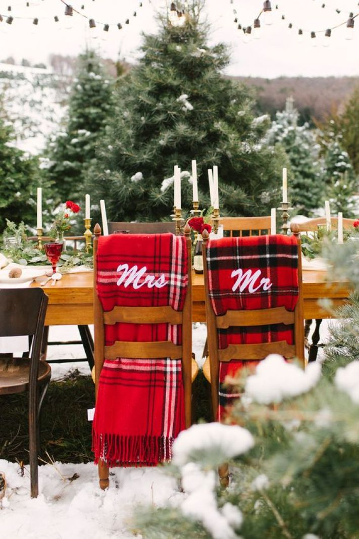 07-plaid-fabric-chair-covers-are-a-perfect-idea-for-a-christmas-wedding-or-a-cozy-winter-one