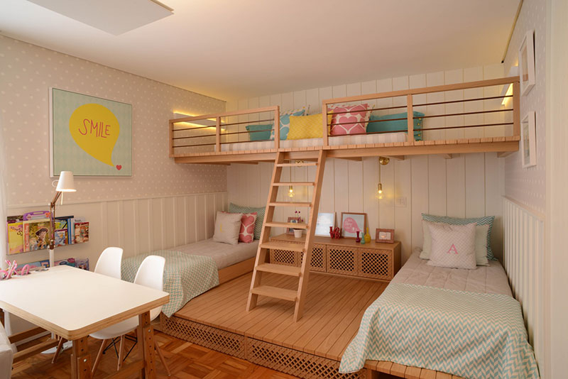 Beautiful bedroom for girls featuring a lofted playspace for both fun and rest 1