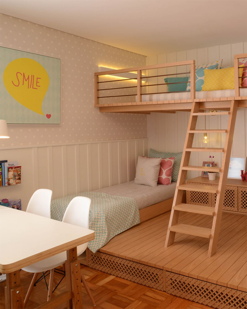Beautiful bedroom for girls featuring a lofted playspace for both fun and rest 2