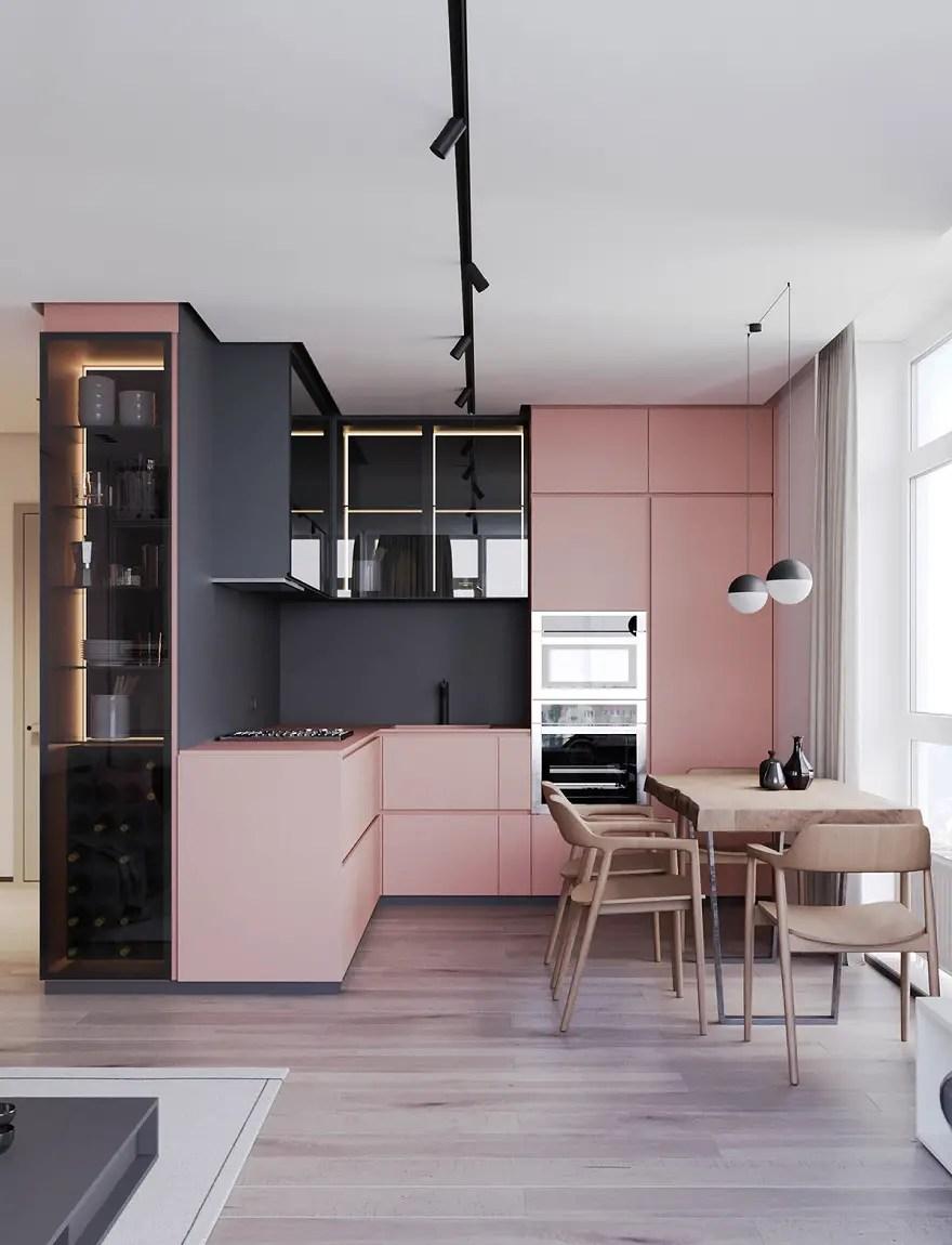 Blush-pink-l-shaped-kitchen