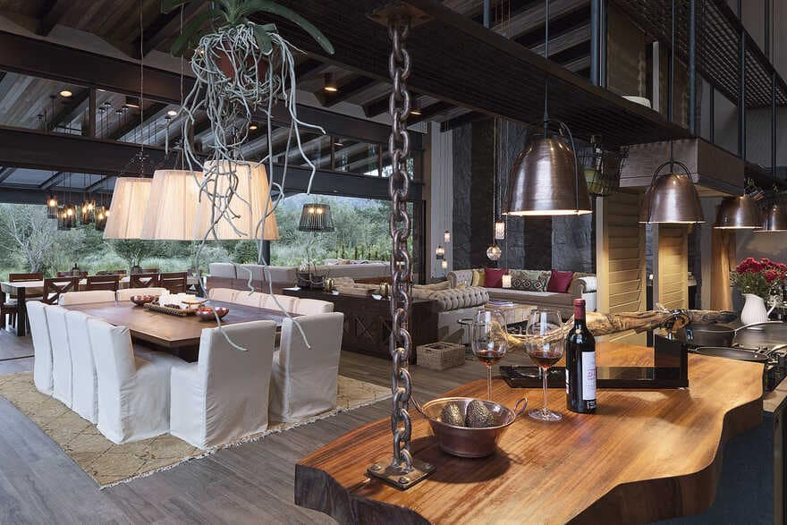 Dark grey house in modern construction of purified lines with rustic touches 4