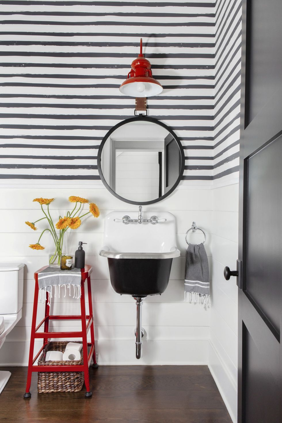 White-black-red in one Vitalizing Half Bathroom Ideas That Refreshing Your Half Space In A Right Way