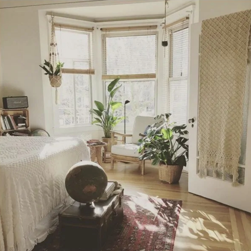 A biophilic boho bedroom
