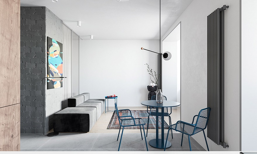 55 square metres house with blue and grey interior that either men or women can stay 1